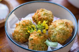 CROQUETTES (Green Peas, Spearmint, Sour Cream, Green Olive)-